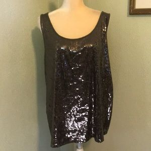Lane Bryant Olive Green Sleeveless Sequined Top